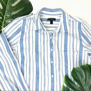 J. CREW Striped Gauzy Popover Shirt Light Top - 8